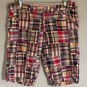 AMERICAN EAGLE OUTFITTERS patchwork plaid shorts.